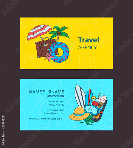 Hand Drawn Colored Beach Objects Vector Summer Travel Doodle
