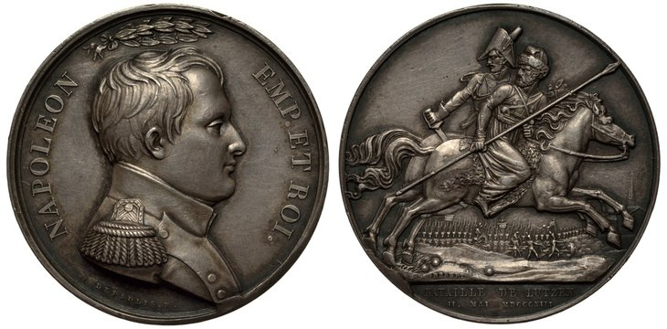France French silver medal Battle of Lutzen in 1813, bust of Napoleon in military uniform, laurel wreath above, Prussian (?) officer and Russian Cossack on horses right, battle scene below, troops, ca