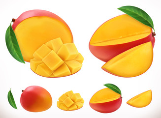 Mango. Fresh fruit 3d realistic vector icon