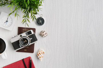 time to travel concept, wanderlust vacation background flat lay, space for text. planning summer holiday