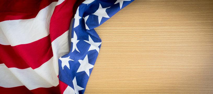 close up usa america flag on wood plain background