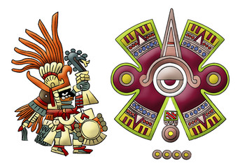 Huitzilopochtli aztec, mayan god of sun illustration on white background.