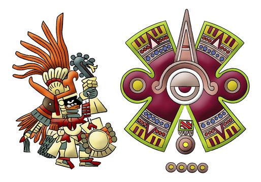 Huitzilopochtli aztec, mayan god of sun illustration on white background.