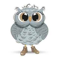 Cute cartoon Owl wise animal vector illustration.