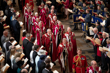 Members of the Order of the Bath as the Prince of Wales, Great Master of the Honourable Order of the Bath, attends the Service of Installation of Knights Grand Cross of the Order at Westminster Abbey in central London
