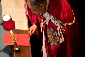 A member of the Order of the Bath as the Prince of Wales, Great Master of the Honourable Order of the Bath, attends the Service of Installation of Knights Grand Cross of the Order at Westminster Abbey in central London