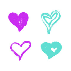 Vector Illustration. Set of hand draw hearts. Isolated drawn heart for design