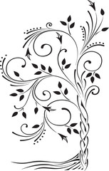 Black and white illustration of a beautiful stylized tree with leaves and roots.