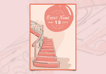 Event Poster Layout with Staircase Illustration