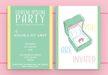 Pastel Green and Yellow Illustrated Invitation Layout