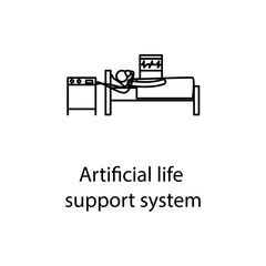artificial life support system icon. Element of medicine icon with name for mobile concept and web apps. Thin line artificial life support system icon can used for web and mobile