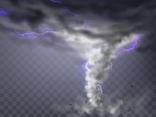 Vector realistic tornado with lightnings, destructive hurricane isolated on transparent background. Wind cyclone, twisted vortex with flashes of light and flying stones, dangerous natural disaster
