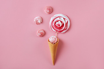Pink candy on pink pastel background