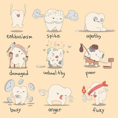 Set of cute teeth characters. Vector illustration of emotions for children dentistry and orthodontics.