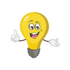 cute light bulb character cartoon. vector illustration