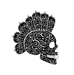 Punk skull icon with Mohawk and ornament details