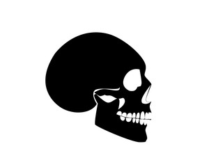 Skull icon black silhouette, side on vector