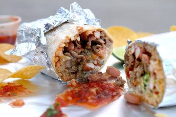 California Style Burrito with Carne Asada, Rice, Beans and Cheese Wrapped in Flour Tortilla