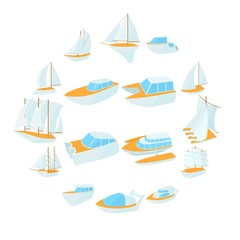 Yacht icons set in cartoon style isolated on white background