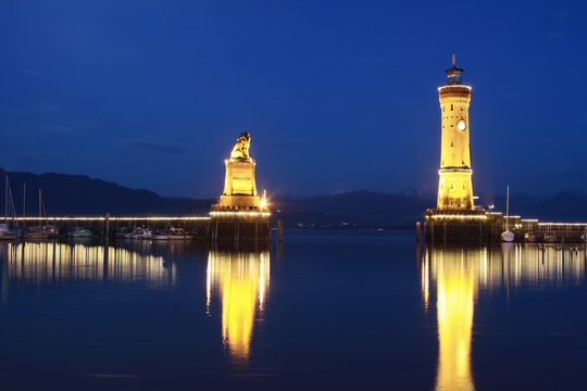 Harbor gate of City Lindau at Lake Constance at Night