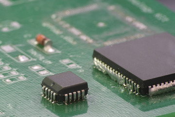 chip on a printed-wiring board close up