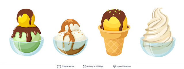 Ice cream refreshing desserts set.