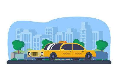 Taxi car in city.