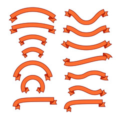 Set of different ribbons, orange tape banner collection, vector illustration