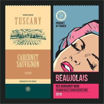 Wine labels. Drawing vineyard. Modern wine labels design template. Pop art woman.