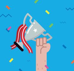 Winner - holding a trophy