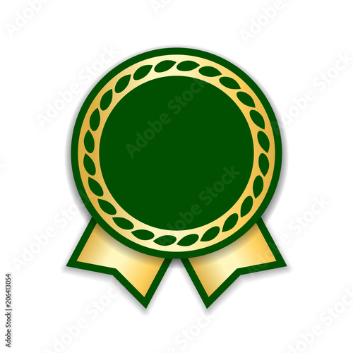 award ribbon isolated gold green design medal label badge