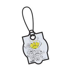 commercial tag hanging with floral decoration vector illustration design