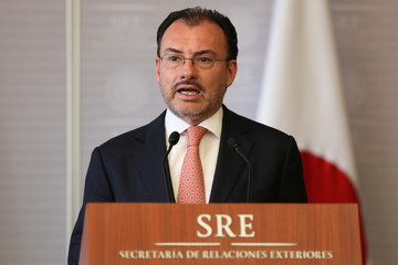 Mexico's Foreign Minister Luis Videgaray delivers a joint message with his Japanese counterpart Taro Kono in Mexico City