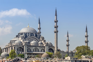 Istanbul, Turkey, 25 April 2006: Suleymaniye Mosque is an Ottoman mosque in the Eminonu district of Istanbul.
