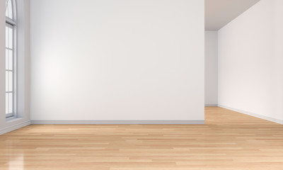 white room interior and wooden floor, 3D rendering