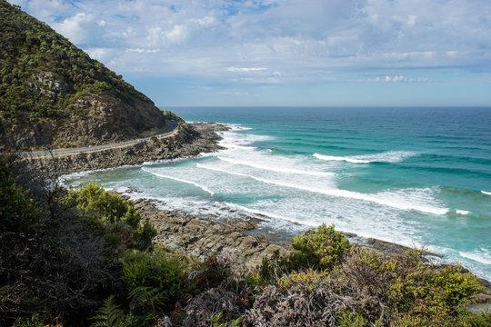 Beautiful rocky coastline at the great ocean road close to Lorne, Victoria, Australia (10.04.2018)