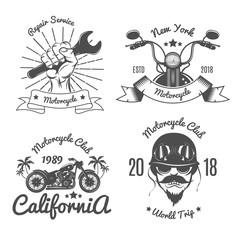 Set of Vintage Emblem For Motorcycle Club.Biker Club.Vector illustration