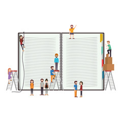 minipeople team working in books vector illustration design