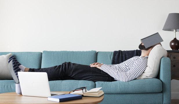 Man is sleeping the stress away