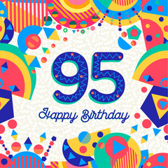 95 ninety five year birthday party greeting card