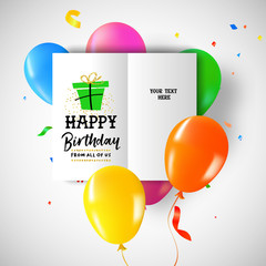 Happy birthday party balloon greeting card