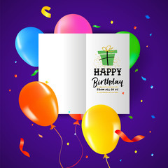 Birthday party balloon paper greeting card design
