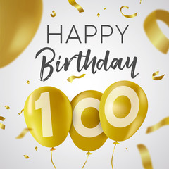 Happy birthday 100 hundred year gold balloon card