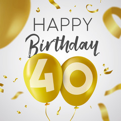 Happy birthday 40 forty year gold balloon card