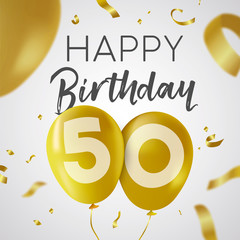 Happy birthday 50 fifty year gold balloon card