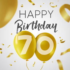 Happy birthday 70 seventy year gold balloon card