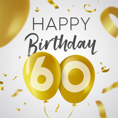 Happy birthday 60 sixty year gold balloon card
