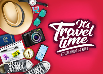 It's Travel Time Typography with Realistic Hat, Passport, Camera, Phone, Watch, Compass and Pair of Shoes  in Red Background Top View Banner. Vector Illustration