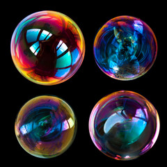 soap bubbles isolated on black background
