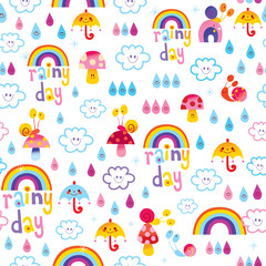 rainy day clouds rainbows umbrellas raindrops snails kids seamless pattern